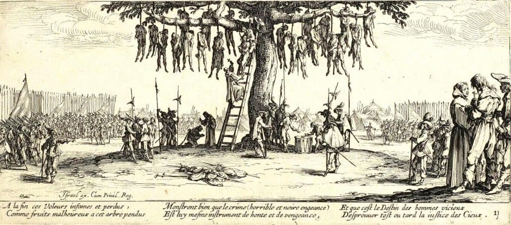 Der Galgenbaum – Darstellung von Kriegsgräueln nach Jacques Callot (1632)